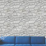 Taş Desenli Duvar Kağıdı Beyaz