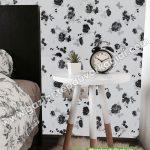 Yatak Odası Duvar Kağıdı Siyah Beyaz Çiçek