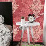 Yatak Odası Duvar Kağıdı Kırmızı Damask