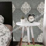 Yatak Odası Duvar Kağıdı Damask Koyu Gri