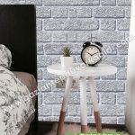 yatak odası duvar kağıdı gri tuğla