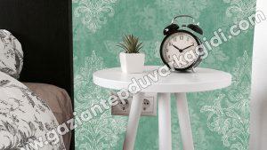 Yatak Odası Duvar Kağıdı Yeşil Damask