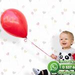 Bebek Odası Duvar Kağıdı Balon Beyaz Kırmızı
