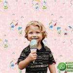 Çocuk Odası Duvar Kağıdı Beyaz Ayı Pembe