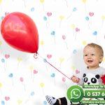 Bebek Odası Duvar Kağıdı Beyaz Balon Kırmızı Sarı