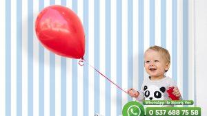 Bebek Odası Duvar Kağıdı Beyaz Mavi Çizgi