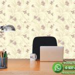 Kahve Çiçek Krem Duvar Kağıdı