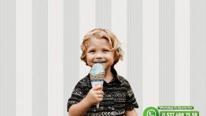 Çocuk Odası Duvar Kağıdı Gri Beyaz Çizgili