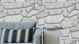 Oturma Odası Duvar Kağıdı Gri Taş
