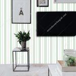 Yeşil Beyaz Çizgili Duvar Kağıdı