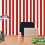 Genç Odası Duvar Kağıdı Kırmızı Beyaz