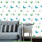 Açık Mavi Yeşil Kuş Duvar Kağıdı