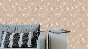 Kahve Sarı Çiçek Duvar Kağıdı