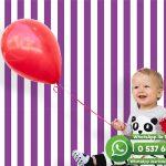 Bebek Odası Duvar Kağıdı Mor Beyaz Çizgi