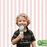 Çocuk Odası Duvar Kağıdı Pembe Beyaz Çizgi