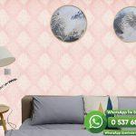 Salon Duvar Kağıdı Pembe Damask