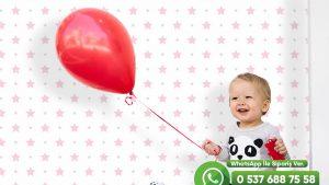 Bebek Odası Duvar Kağıdı Yıldız Pembe Beyaz